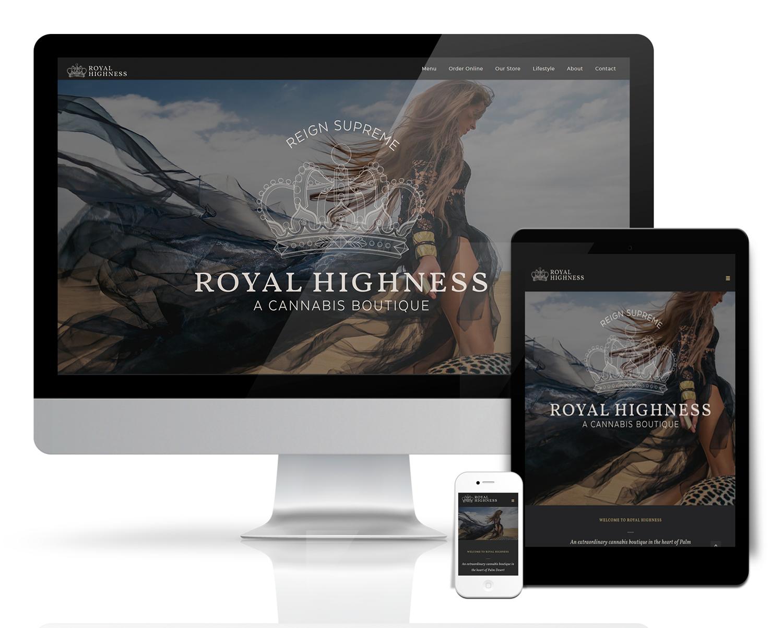 E-commerce website for Royal Highness Palm Desert dispensary
