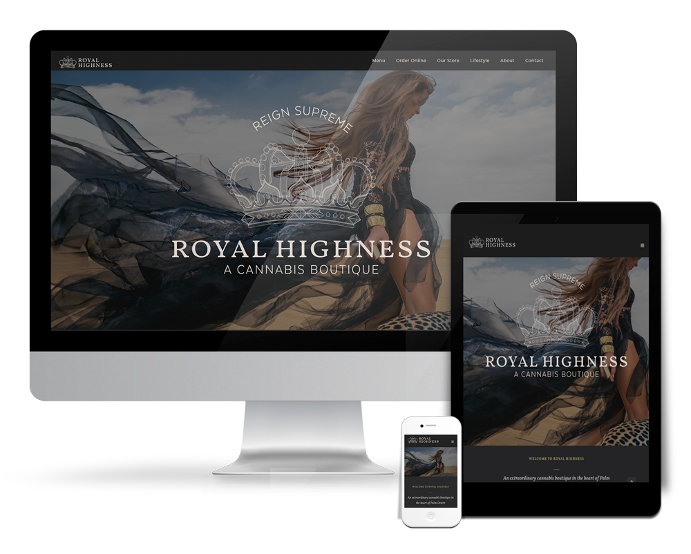 Royal Highness website design Palm Desert luxury dispensary