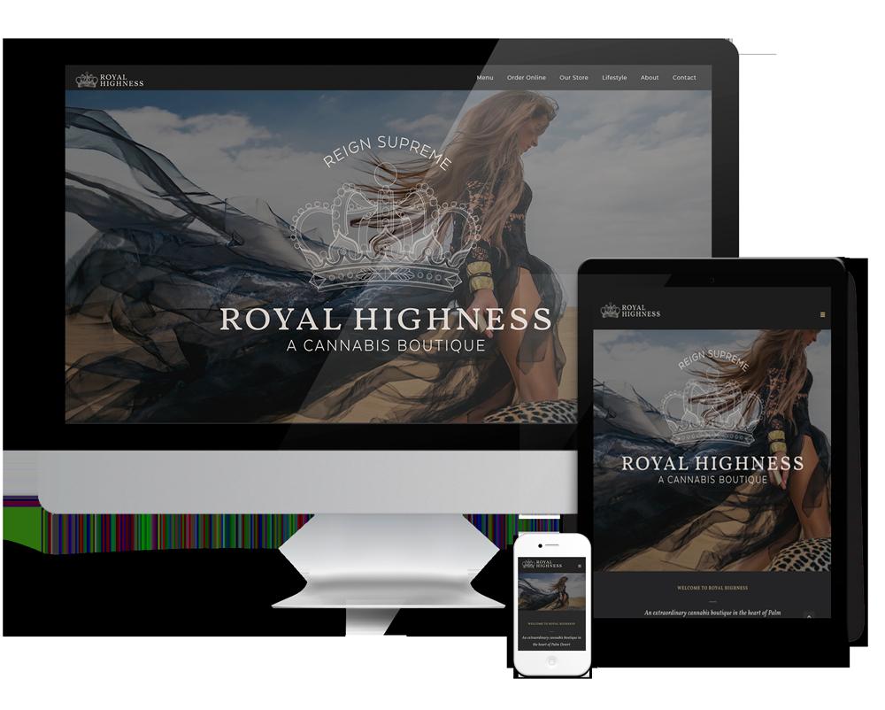 Royal Highness website design Palm Desert luxury dispensary