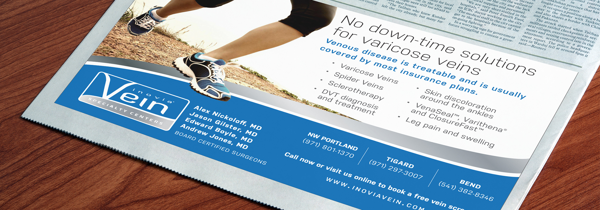 Rebrand for Inovia Vein statewide franchise launch