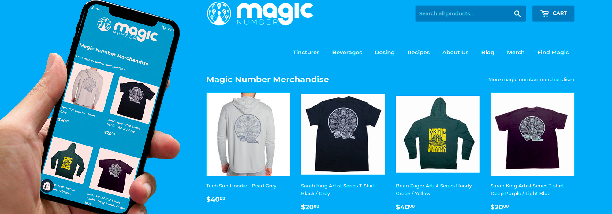 shopify e-comerce webstore for magic number merchandise